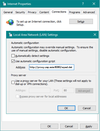 How to set Automatic Proxy Configuration on Windows Systems